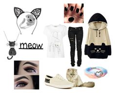 """""""Kitty Cat"""" by skullmaster ❤ liked on Polyvore featuring WithChic, Effy Jewelry, Fleur du Mal, Amanda Rose Collection, Keds, STELLA McCARTNEY and Denim of Virtue"""