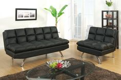 2 pc Black faux leather tufted upholstered futon sofa bed and chair with chrome legs