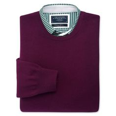 Wine cashmere crew-neck jumper | Men's knitwear from Charles Tyrwhitt, Jermyn Street, London £99
