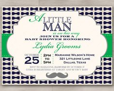 Little Man Baby Shower Invitation with Bowtie and Mustache Images // Customizable in Your Color Choice  // DIY Digital PRINTABLES RevintagedArt on Etsy