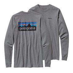 Patagonia Men's Long-Sleeved P-6 Logo Cotton T-Shirt - Gravel Heather or Lite Electron Blue, XL