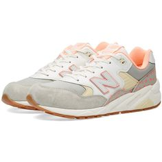 New Balance WRT580KP 'Roses Pack' (490 RON) ❤ liked on Polyvore featuring shoes, real leather shoes, pastel shoes, cushioned shoes, new balance shoes and leather footwear