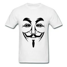 Anonymoi Face Vec White Adult Standard Weight T-shirt For Men Top Rated-News & Politics  T-shirts with your own favorite texts or photos in our designer.  http://hicustom.net/ free shipping and 24hours available to help.