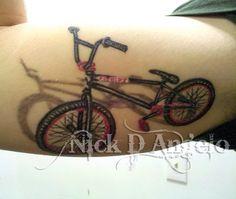 Some of the most 3 Dimensional tattoos i have done! Bic Lighter Tattoo BMX Bike Tattoo Realistic Skull sinking into skin tattoo . Best 3d Tattoos, Sexy Tattoos, Body Art Tattoos, Tattoos For Guys, Cool Tattoos, Dirt Bike Tattoo, Bicycle Tattoo, Bike Tattoos, Bicycle Art
