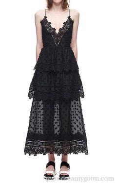 d377cc7ba873 Ivy Lace Trim Self Portrait Midi Layered Evening Dress Black