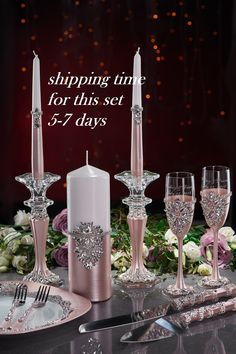 Wedding glasses and cake server plate and forks Unity candle set with holders Champagne flutes Blush and silver Set of 12 Wedding gift Wedding Wine Glasses, Wedding Champagne Flutes, Champagne Glasses, Unique Wedding Colors, Special Wedding Gifts, Wedding Unity Candles, Wedding Toasts, Luxury Candles, Candle Set