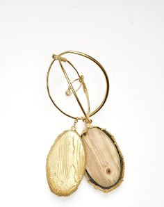 Indentations - Edgar Mosa - Chrysalides Brooch, 2012 Wood, Gold Plated Copper