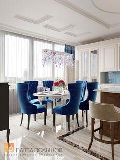 Фото дизайн интерьера кухни-столовой из проекта «Дизайн 4-комнатной квартиры 162 кв.м. в ЖК «Платинум», стиль неоклассика»