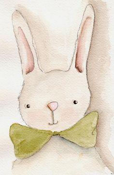 Nursery Decor Watercolor Bunny Art Print by RoseHillDesignStudio Animals Watercolor, Art Watercolor, Illustration Mignonne, Cute Illustration, Toys Drawing, Bunny Drawing, Lapin Art, Bunny Art, Whimsical Art