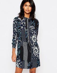 Warehouse+Prairie+Print+Tie+Waist+Dress