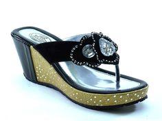 New Brieten Women's Rhinestone Flower Flip-flop Platform Wedge Slide Sandals -- See this great product.