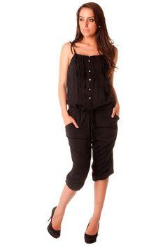 Combi-pantacourt femme en noir avec bretelle et bouton. Combinaison mode  D257 Prix   47c0f6251f5