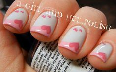 Untitled pink heart nails