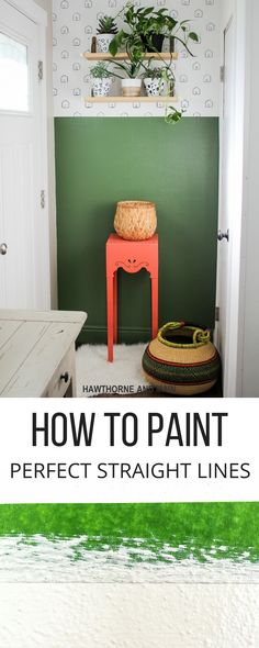 Have a drab outdated entryway? Considering using this simple technique to add a pop of color and make it more updated and fabulous. Plus, I will show you how to paint a perfectly straight line every time!