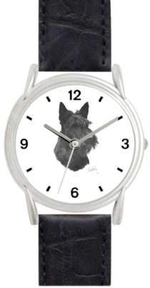 SCOTTISH TERRIER DOG (MS) - WATCHBUDDY® DELUXE SILVER TONE WATCH - Black Strap - Small Size (Children's: Boy's & Girl's Size) WatchBuddy. $49.95