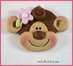 Polymer Clay Charm Monkey Face by michellesclaybeads on Etsy