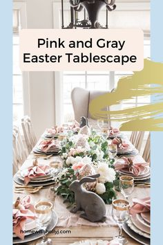 Are you looking for an elegant spring tablescape to bring life to your dining room? Take a look at this beautiful pink and gray table setting for your next party. This would be a pretty bridal shower table decoration or even a baby shower tablescape. Spring table décor is one of my favorite ways to spruce up the home Bridal Shower Table Decorations, Bridal Shower Tables, Baby Shower Decorations For Boys, Dining Room Centerpiece, Dining Room Table Decor, Kitchen Decor, Pink Dinner Plates, Pink Grey, Gray