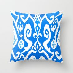 """""""ikat in Electric Dip"""" Throw Pillow by Miranda J. Friedman. Covers with or without pillow insert (starting at $20)."""