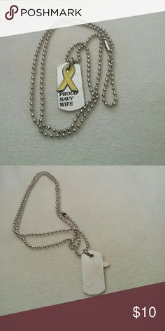Military/veteran support necklace Proud Navy wife, wear it to support your military member or veteran, can be engraved on the back with a personal message or name. You're providing meals for homeless veterans with every purchase of any military item in my closet, give some to those who gave so much. God bless. Jewelry Necklaces
