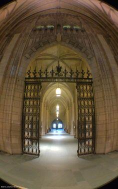 Fisheye view of walkway inside 1st floor of Cathedral of Learning facing the Heinz Memorial Chapel