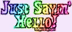 Sayin' Hello Rainbow Glitter Text Glitter Graphic, Greeting, Comment, Meme or GIF Glitter Text, Purple Glitter, Hello Goodbye, Friendship Quotes, Rainbow, Animation, Feelings, Sayings, Words