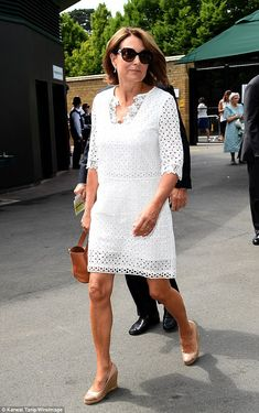 Stylish pair: The Duchess of Cambridge's parents donned their finery on Wednesday morning, with Carole, wearing a white broderie anglaise dress and brown wedges Kate Middleton, Middleton Family, Mature Fashion, Older Women Fashion, Pippa And James, Style Finder, Wednesday Morning, Spring Fashion Outfits, Brown Wedges