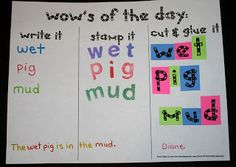 Write it, stamp it, cut and glue it - can also add use it in a sentence.   Classroom Freebies: CVC and Daily 5 Word Work Activities