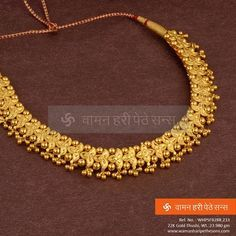 Explore the trendy collection of gold necklace set at Waman Hari Pethe Sons. Gold Mangalsutra Designs, Gold Earrings Designs, Necklace Designs, Gold Designs, Real Gold Jewelry, Gold Jewelry Simple, Gold Jewellery, Indian Jewelry, Jewellery Shops