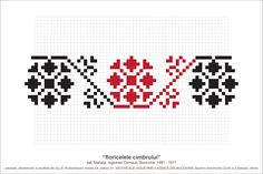 Semne Cusute: MOTIVE: floricelele cimbrului (P41, M24) Creative Embroidery, Folk Embroidery, Cross Stitch Embroidery, Embroidery Patterns, Knitting Patterns, Peyote Patterns, Beading Patterns, Cross Stitch Patterns, Simple Cross Stitch