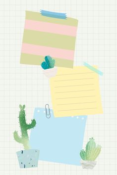 Blank paper with cactus design vector Framed Wallpaper, Cute Wallpaper Backgrounds, Cute Wallpapers, Iphone Wallpaper, Note Doodles, Instagram Frame Template, Photo Collage Template, Plant Illustration, Writing Paper
