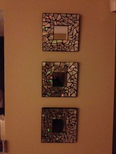 DIY: IKEA MALMA mirrors $1.99 each. Cut up some cd's and hot glue to them. So adorable !!!!!!!