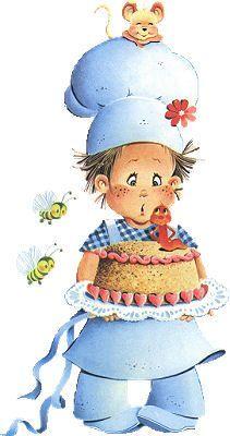 Pequeños cocineritos vestidos de azul, acompañado de ratoncito y cosas de la cocina en dibujos de pequeños cocineros para imprimir . Imprimi...