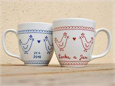 Svadobné hrnčeky/svadobný dar - Vtáčiky (s menami a dátumom)