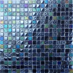Blue Mosaic Tile Plated Stone and Glass Backsplash Iridescent Kitchen Designs Colors Bathroom Wall Tiles PCS, /each)