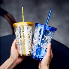 Fashion BlingBling Summer Straw cup,450ml Good Time Double Plastic Cup with a Straw Water Bottle copo com canudo