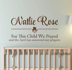 Name Wall Decal For This Child We Prayed Kids by IceCreamVinyl