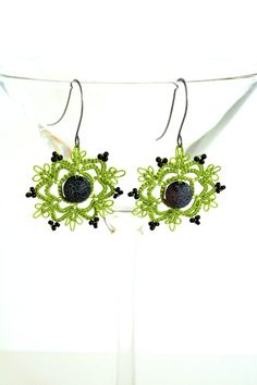 Black and Green Tatted Earrings by KnotTherapy on Etsy, $18.00