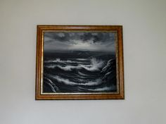 large Seascape Oil Painting England Coast by QueensParkVintage
