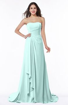 Blue Glass Traditional A-line Strapless Lace up Chiffon Brush Train Plus Size Bridesmaid Dresses