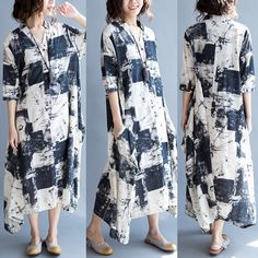 Casual Ink Print Loose Half Sleeve Stand Collar Maxi Dress For Women