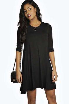 Allie 3/4 Sleeve Swing Dress at boohoo.com