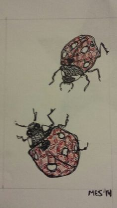 Zendoodle Ladybugs.  Marker and Pen on Paper.   Mimi Smith 2014.