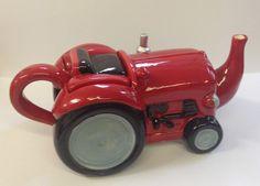 Ceramic Glazed RED Large Tractor Teapot ~ Tea Pot Server ~ Ornament ~