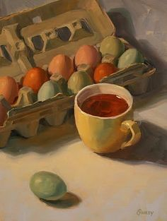 "Sara Qualey Paintings: ""Farm Eggs and Tea Cup"" Still Life Artists, Color Script, Food Painting, Tea Art, Painting Still Life, Kitchen Art, Art Oil, Painting Inspiration, Food Art"