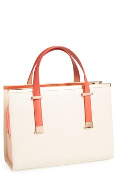 Love the pink mix! Ted Baker London Colorblock Metal Bar Tote