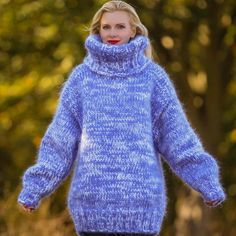 Big and heavy hand knitted sweater in blue and white, size S, M, L, XL