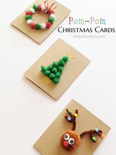 Pom-Pom Christmas Cards : Easy DIY Christmas cards for kids to make. Simple Christmas themed activity for the classroom. Christmas Cards Handmade Kids, Simple Christmas Cards, Christmas Crafts For Kids To Make, Christmas Card Crafts, Holiday Crafts, Christmas Presents, Christmas Tree, Diy Cards Crafts, Diy Weihnachten