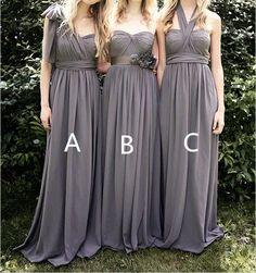 Grey Bridesmaid Dresses Long Chiffon Bridesmaid Dress by DressbLee, $109.00