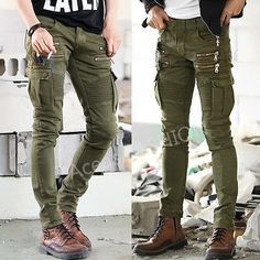 Punk Fashion Mens Cotton Overalls Straight Pants Zip Pockets Slim Skinny Jeans - Ideas of Mens Fashion Jeans Punk Fashion, Fashion Pants, Overalls Fashion, Fashion Fashion, Womens Fashion, Levis, Elastic Jeans, Biker Jeans, Jeans Pants