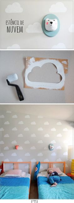 Cloud Kid's Room with Handmade Charlotte Stencils - Love love love! (DIY Cloud Kid's Room with Handmade Charlotte Stencils by Mer Mag) - Baby Bedroom, Girls Bedroom, Kid Bedrooms, Room Baby, Toy Story Bedroom, Cloud Bedroom, Toy Story Nursery, Kids Bedroom Paint, Cloud Nursery Decor